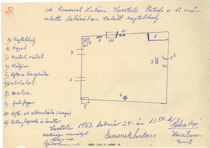 Idősebb Simonek Lukács házában talált rejtekhely vázlatos alaprajza