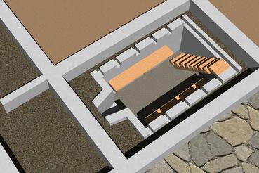 A szőny-komáromi ásatások során a Vásártéren feltárt pince rekonstrukciós rajza. Készítette: Dobosi Linda