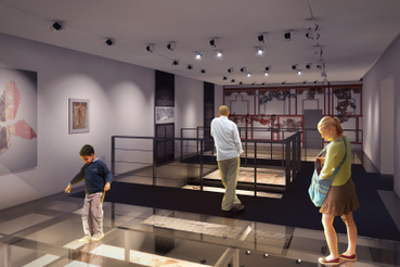 Látványterv a Klapka György Múzeum új épületének egyik kiállítóteréről.