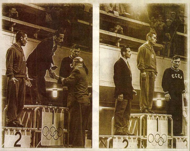 Hódos Imre nem értette, hogy kerülhetett a dobogó második fokára (balra), ám aztán helyreállt a világ rendje. Forrás: Nemzeti Sport 2018 / 14. szám / Arcanum adatbázis