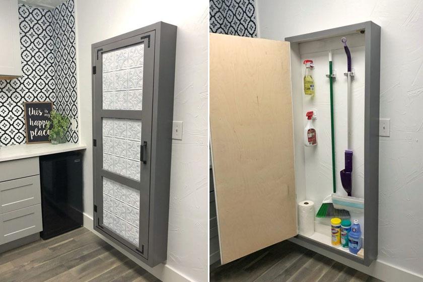 Akár néhány deszka, kampó és egy szekrényajtó segítségével ilyen praktikus faliszekrény készíthető a takarítóeszközök tárolására.