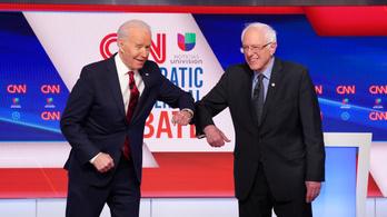 Könyökpuszival indult Biden és Sanders tévévitája, amit a koronavírus dominált