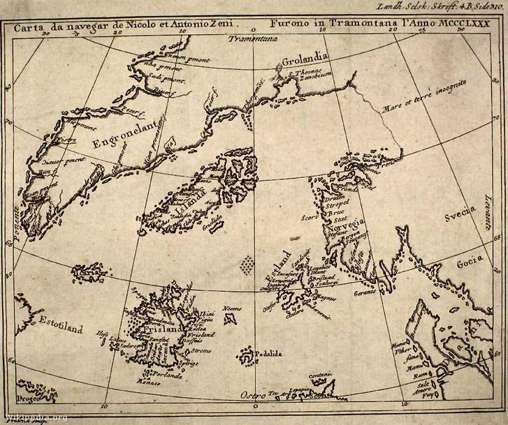 Map by nicolo zeno 1558