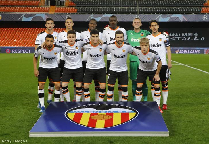 A Valencia csapata az Atalanta elleni Bajnokok Ligája-meccsen