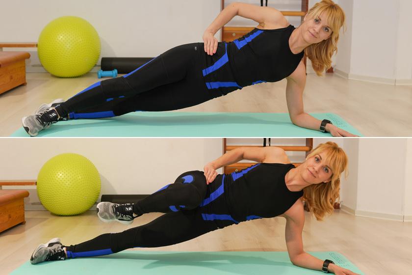 Helyezkedj el a talajon oldalsó plankbe, emeld ki magad, majd lassan húzd be a lábad a köldököd vonaláig. Figyelj arra, hogy ne mozduljon el a medencéd a lábak behúzásakor. Ismétlésszám: 3 x 12 jobbra és balra.