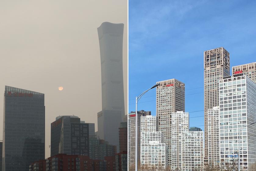 Egy tavalyi és egy néhány napos fotó Kína fővárosáról, Pekingről. Az ázsiai ország egyes területein évek óta alig lehetett látni a Napot a szmog miatt, ám a járvány miatti karantén hatására kitisztult az ég.