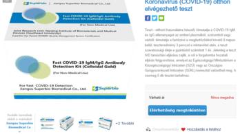 Egy hazai online áruházban megjelent egy otthoni koronavírusteszt