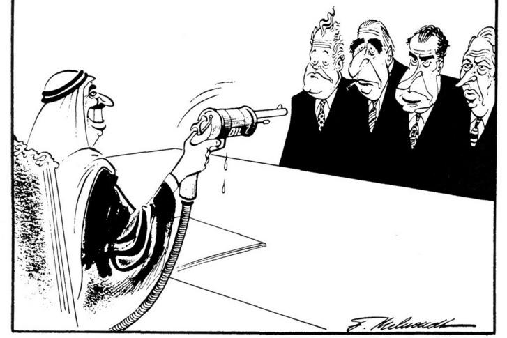 Szervezetbe tömörülve ereje lett az arab kitermelőknek a politika nagyjaival szemben, ahogy ez a gúnyrajz mutatja