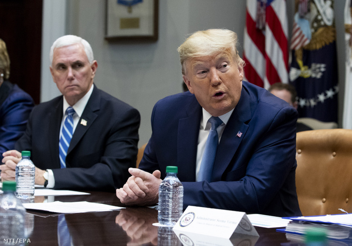 Donald Trump amerikai elnök és Mike Pence alelnök egészségügyi vállalatok vezetőivel tárgyal a tüdőgyulladást okozó koronavírus terjedésével kapcsolatban a washingtoni Fehér Házban 2020. március 10-én.