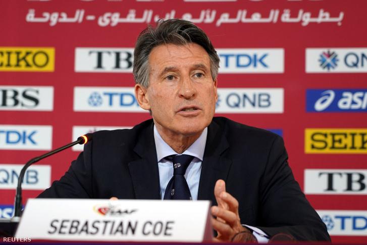 Sebastian Coe, a Nemzetközi Atlétikai Szövetség elnöke a dohai világbajnokságon 2019. szeptember 26-án.