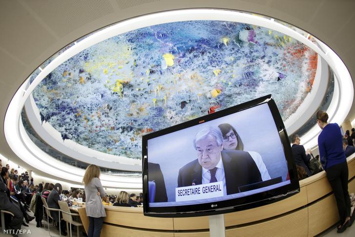 António Guterres ENSZ-főtitkár megnyitja az ENSZ Emberi Jogi Tanácsának 43. ülésszakát a szervezet genfi székházában 2020. február 24-én.