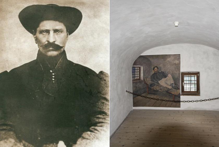 Rózsa Sándor portréja és kufsteini börtöncellája.