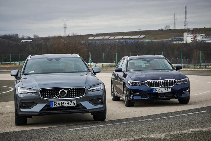 A két orr egészen más design: a Volvo mint egy monolit, a BMW csupa hajlítás és préselt hullám