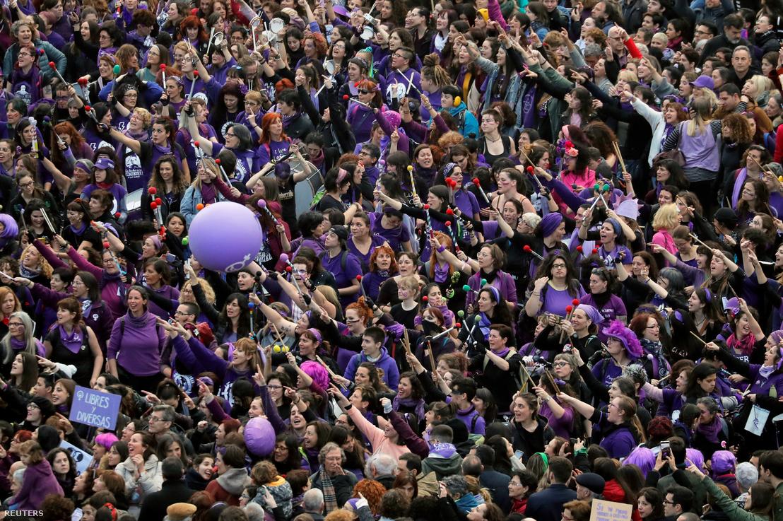 A madridi nőnapi tüntetés
