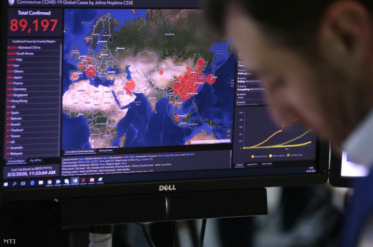 A koronavírus terjedésérõl szóló adatokat figyeli egy alkalmazott a brüsszeli válságkezelő központban 2020. március 2-án. Ursula van der Leyen az Európai Bizottság elnöke bejelentette hogy a koronavírus európai terjedése miatt bevezetett közepes riasztási szintet magas szintre emelik.