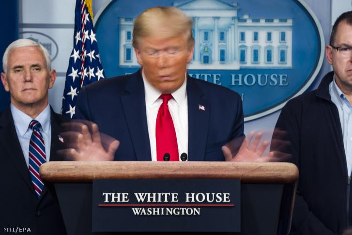 Donald Trump amerikai elnök a Fehér Ház vírusellenes munkacsoportjának tagjai között beszél egy sajtótájékoztatón a washingtoni Fehér Házban 2020. március 21-én. Trump katasztrófa sújtotta területté nyilvánította New York államot és elrendelte a szövetségi segítségnyújtást a keleti parti tagállamnak.