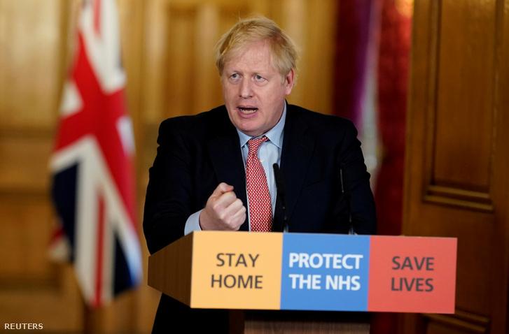 Boris Johnson szerdai beszéde közben Londonban