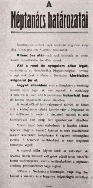 A Halasi Néptanács plakátja 1918-ból