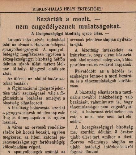 A Kiskunhalas Helyi Értesítője 1918. október 16-i száma
