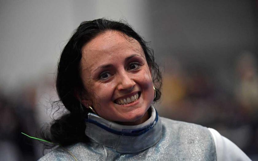 Mohamed Aida, miután 2019 júniusában győzött Kondricz Kata ellen a Düsseldorfban rendezett vívó-Európa-bajnokság női tőr versenyszámában a legjobb 32 között