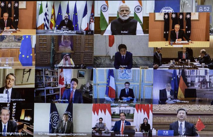A virtuális csúcstalálkozó egy kijelzőn