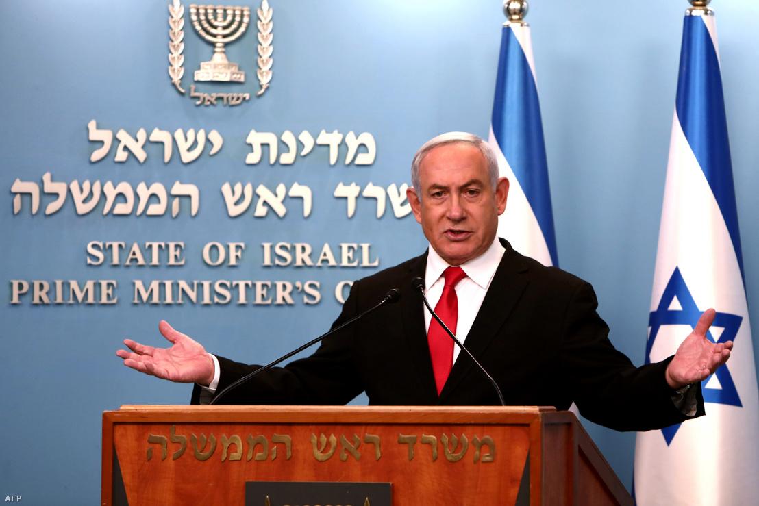 Benjámin Netanjáhu beszél jeruzsálemi irodájában, a koronavírus elleni küzdelemmel kapcsolatosan hozott új intézkedésekről 2020. március 14-én