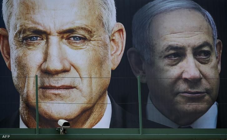 Beni Ganc és Benjámin Netanjahu választási plakátja Ramat Ganban, még 2020. február 17-én