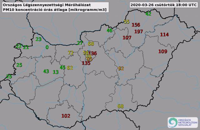 PM10 órás átlagértékek csütörtök este 19 órakor