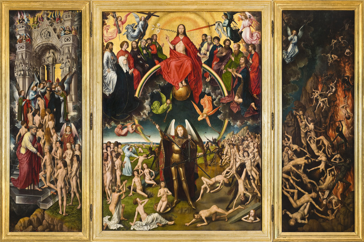 Hans Memling: Utolsó ítélet, Szent Mihály arkangyalt megméri lelkeket és a kárhozottakat a pokolba irányítja.