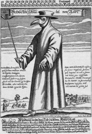 Pestisdoktor védőruházatának rajza kb. 1656-ból