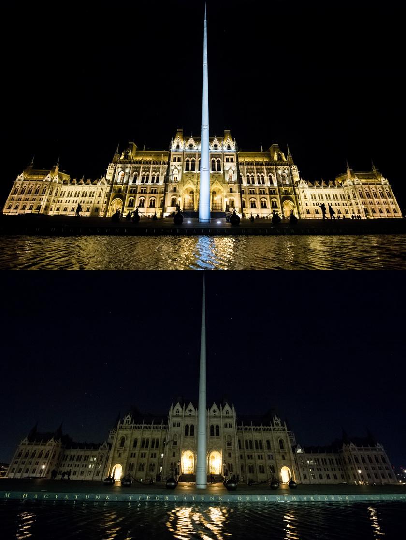 Az Országház épülete kivilágítva, valamint a Föld Órája alatt a 2017-es akció idején.