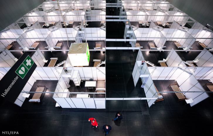 Az új koronavírus járványa miatt kialakított ideiglenes szükségkórház a Bécsi Vásár területén