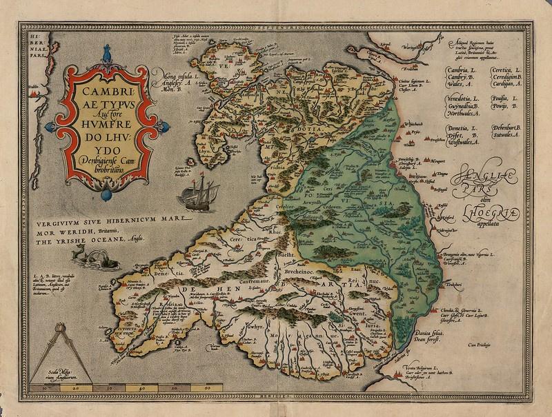 16. századi térkép Walesről.