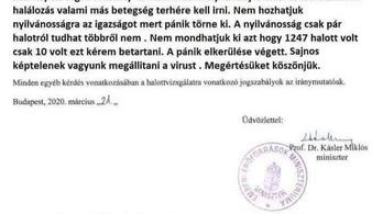 Nem, a neten keringő teljesen gagyi, helyesírási hibás levél nem Kásler Miklóstól származik