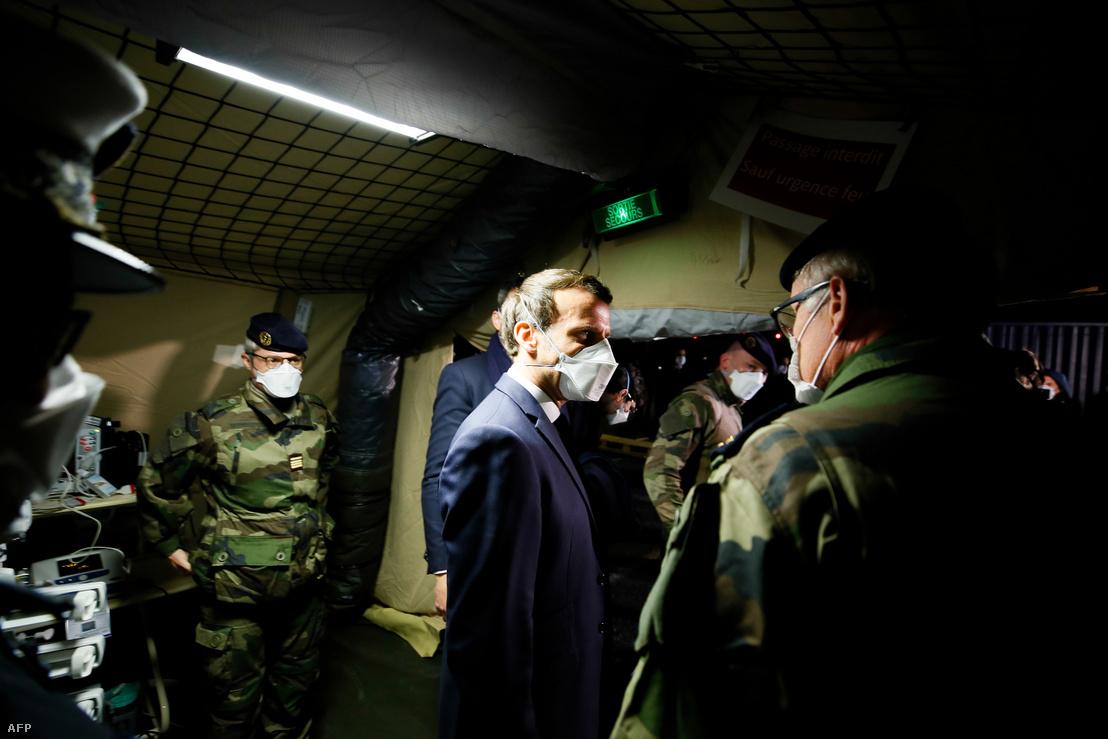 Emmanuel Macron Mulhouse-i látogatása 2020. március 25-én.