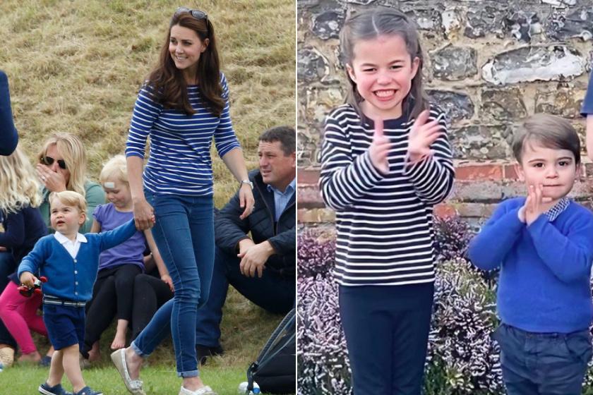 Katalin március végén öltöztette fel a kis Charlotte-ot csíkos pulóverbe és sötét nadrágba. A hercegnét is több alkalommal lekapták ilyen viseletben.
