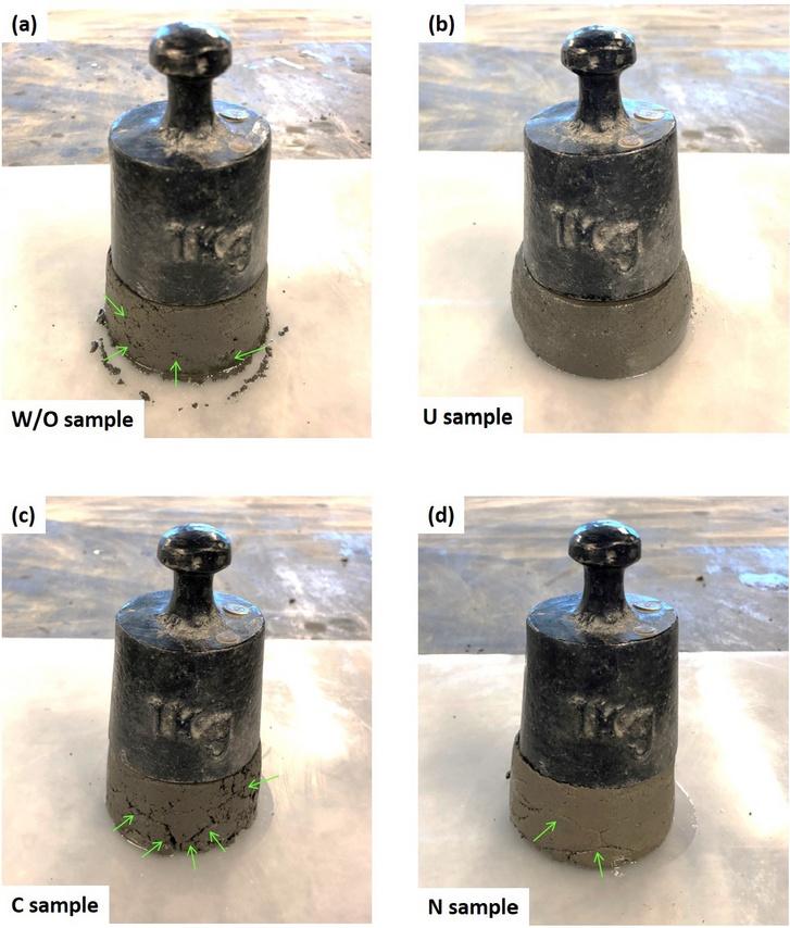 Terheléspróbákon vizsgálták a különöző keverékek szilárdságát (W/O: adalékanyag nélküli keverék, U: vizeletes keverék, C: polikarbonátos adalék, N: naftalénos adalék)