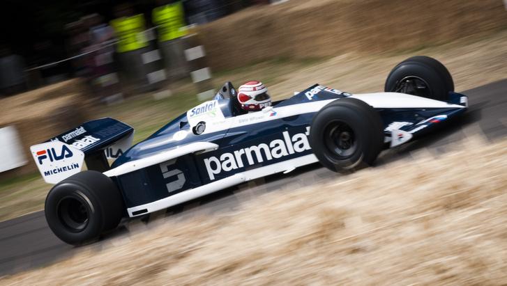 Nelson Piquet driving Brabham BT52 2013 Goodwood Festival of Spe
