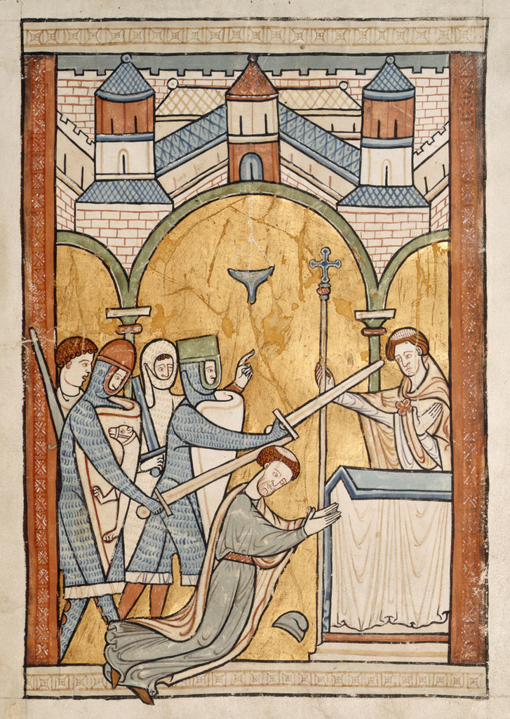 Becket Tamás meggyilkolása a canterburyi katedrálisban egy XIII. századi kódexből.