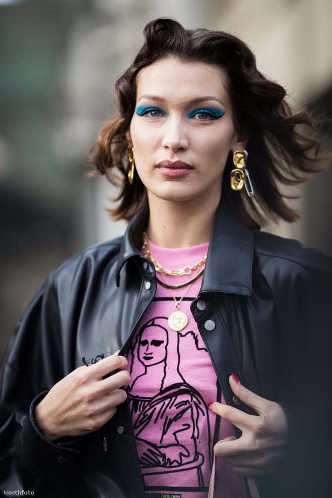 Kolléganője, Bella Hadid modell is elég színes itt,