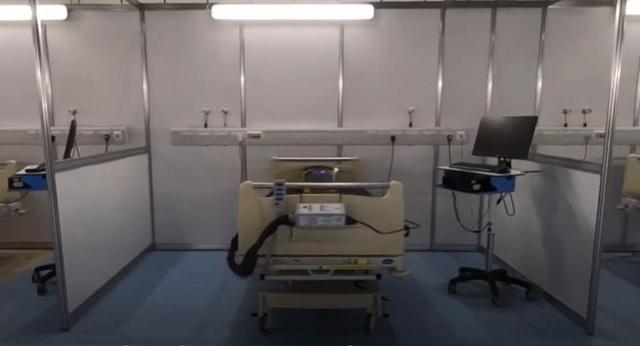 Ágy a londoni ExCeL-ben felépített karanténkórházban