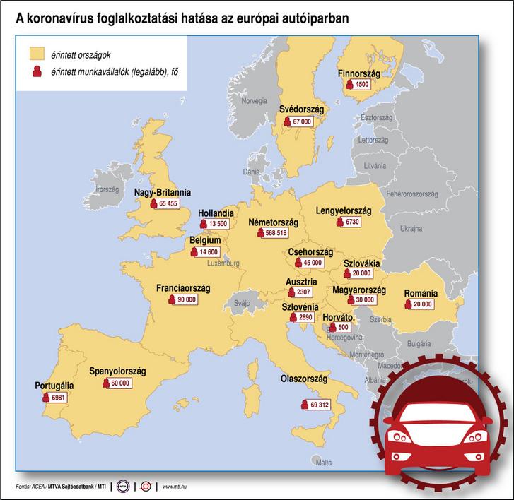 A térkép azt mutatja, hogy az egyes európai országokban hány autóipari dolgozó munkáját érintette eddig a koronavírus-járvány