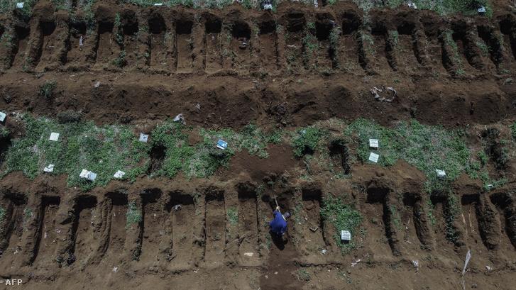 Előre kiásott sírok a brazíliai Vila Formosa temetőben