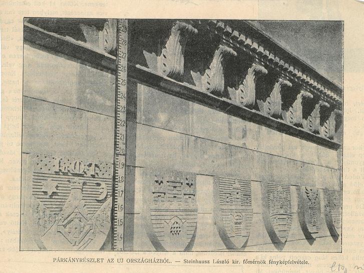 Városcímerek az Országházon az Építő Ipar 1895-ös fényképén