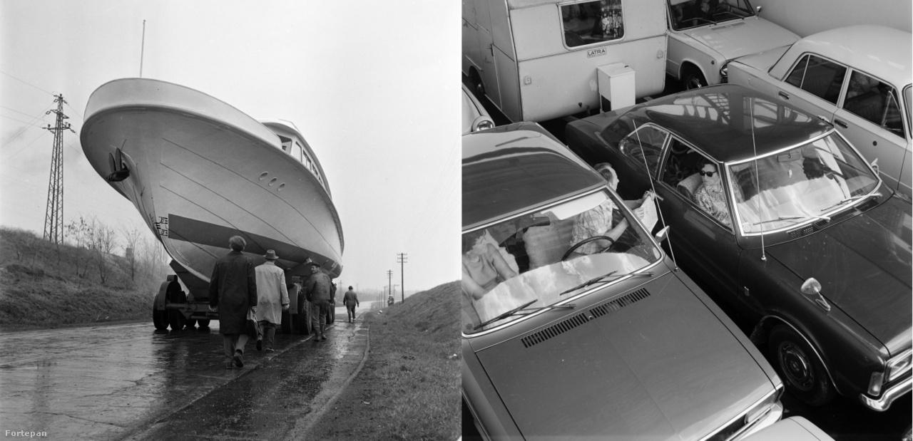 """A """"Balaton-Praha"""" hajó vízrebocsátása,1965.; Nyugat-német turisták a balatoni kompon, 1971."""