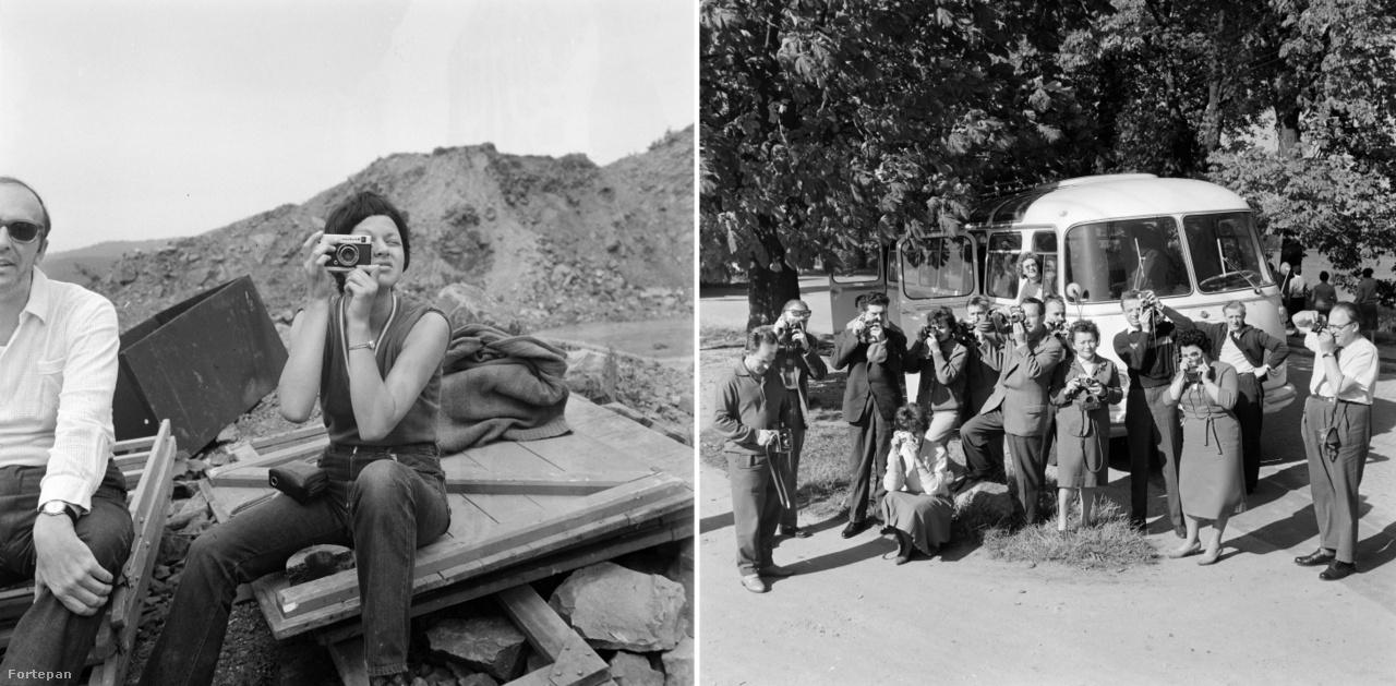 Fotózás filmforgatás közben a szobi kőbányában, 1970.; Fotózás útközben Drezda felé, 1967.