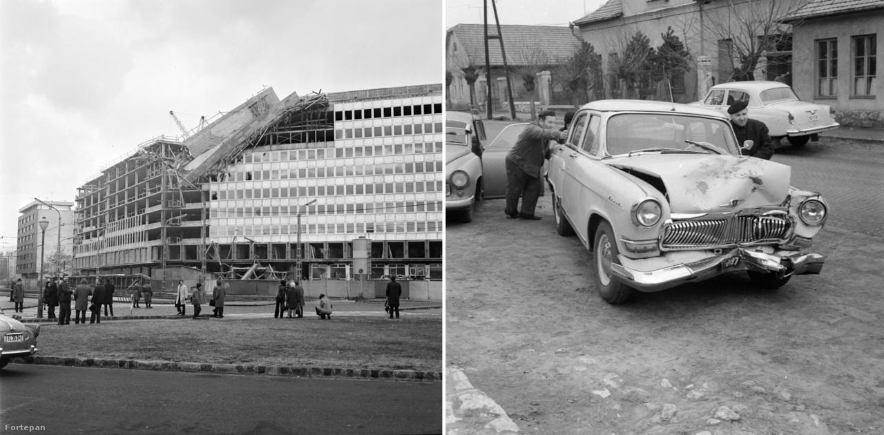 Budapest, Október huszonharmadika (Schönherz Zoltán) utca, az Országos Kőolaj és Gázipari Tröszt (ma MOL) székház omlása, 1973.; Balesetes Volga 1973.