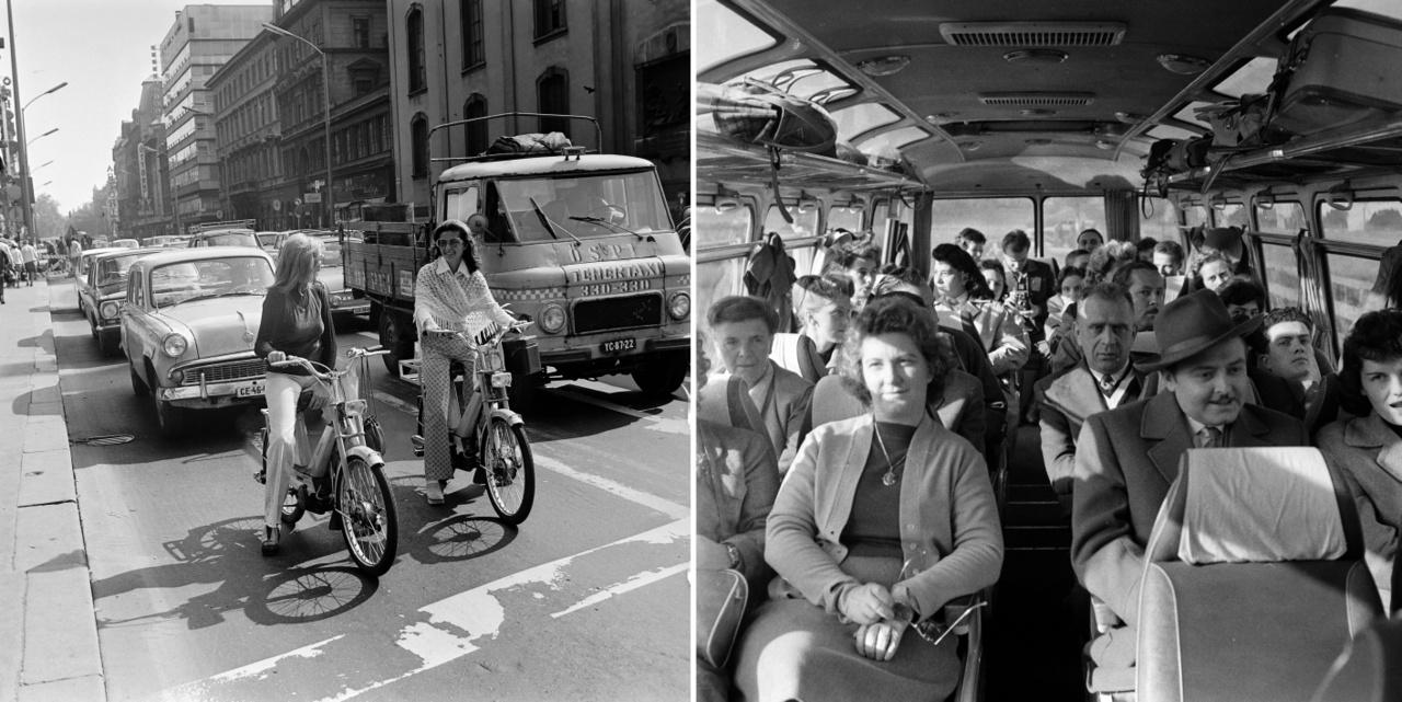 Babetta motoron, Budapest V. Kossuth Lajos utca, 1973.; Turistabuszon, 1964.