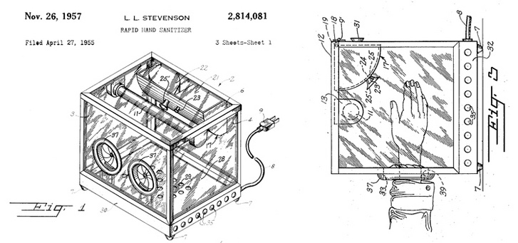 """Lincoln L. Stevenson 1957-es szabadalma, a """"Gyors kézi fertőtlenítő készülék"""""""