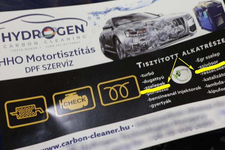 Egy HHO Carbon Cleaning szórólap, mi ezt a két dolgot vizsgáltuk